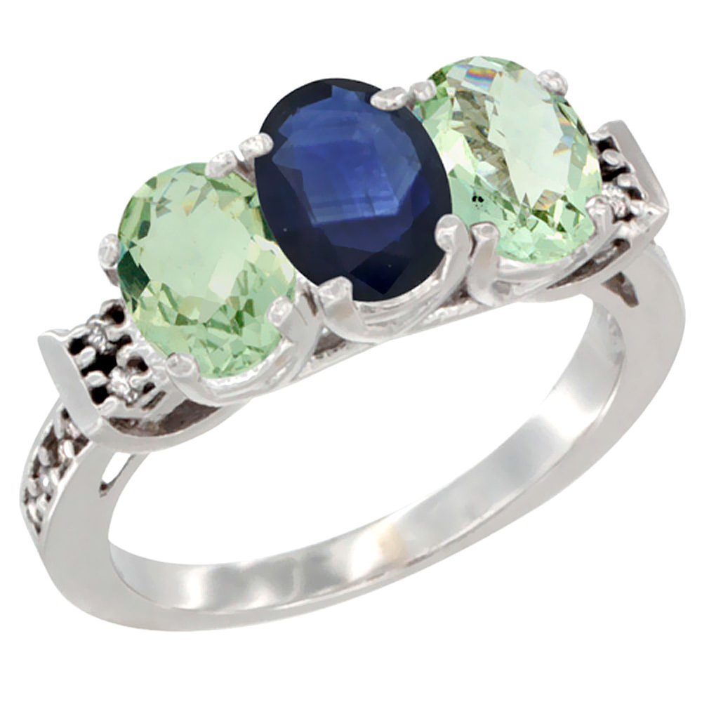 14K White Gold Natural Blue Sapphire & Green Amethyst Sides Ring 3-Stone 7x5 mm Oval Diamond Accent, sizes 5 - 10
