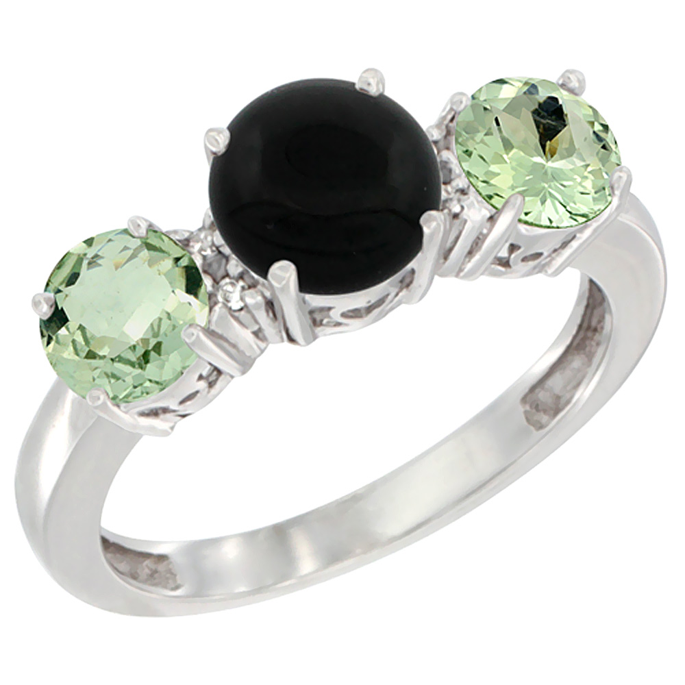 14K White Gold Round 3-Stone Natural Black Onyx Ring & Green Amethyst Sides Diamond Accent, sizes 5 - 10