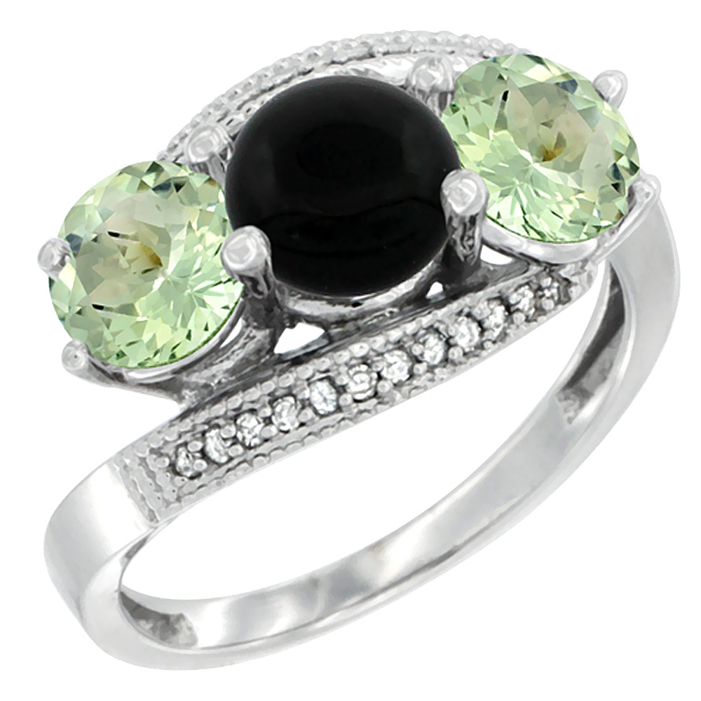 14K White Gold Natural Black Onyx & Green Amethyst Sides 3 stone Ring Round 6mm Diamond Accent, sizes 5 - 10