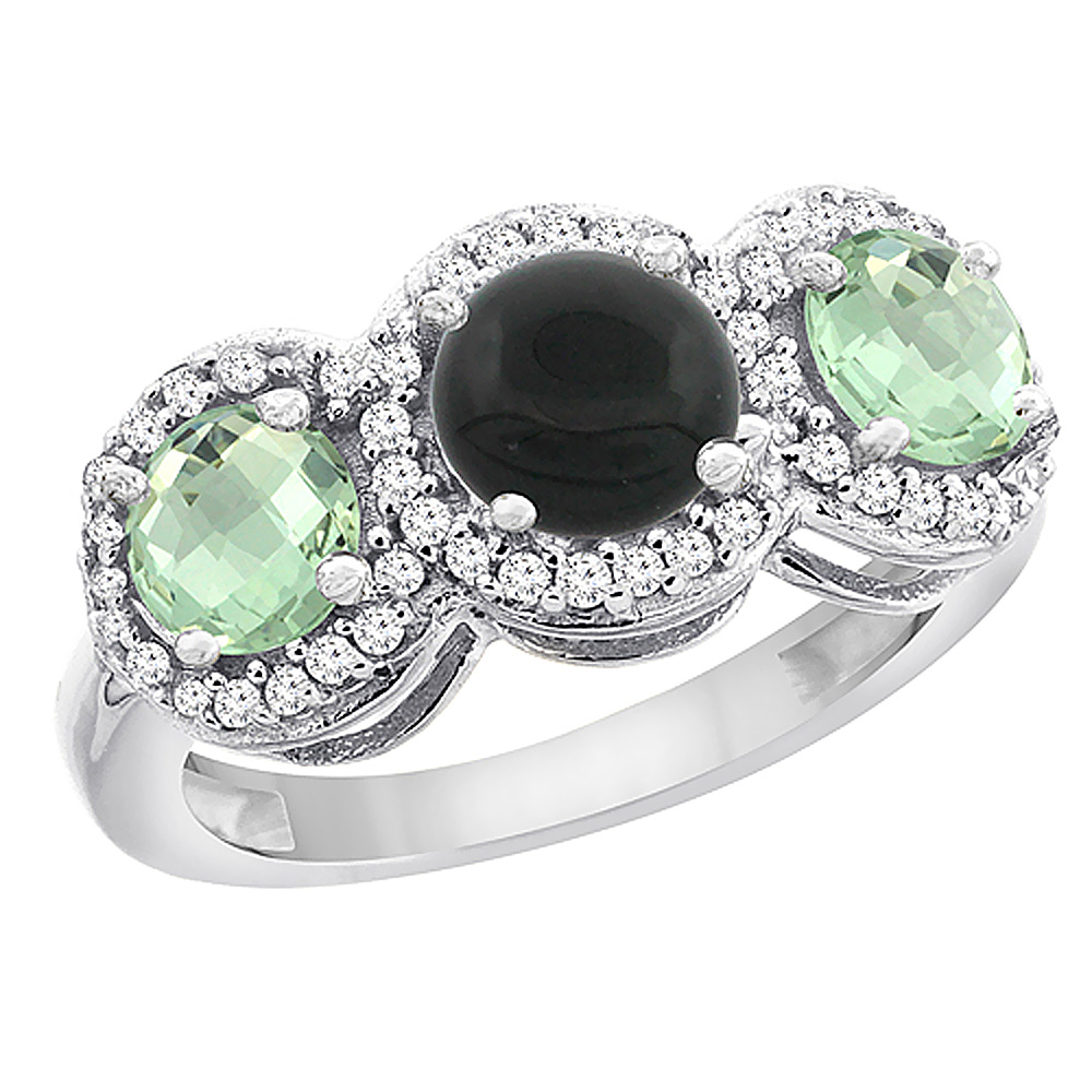10K White Gold Natural Black Onyx & Green Amethyst Sides Round 3-stone Ring Diamond Accents, sizes 5 - 10