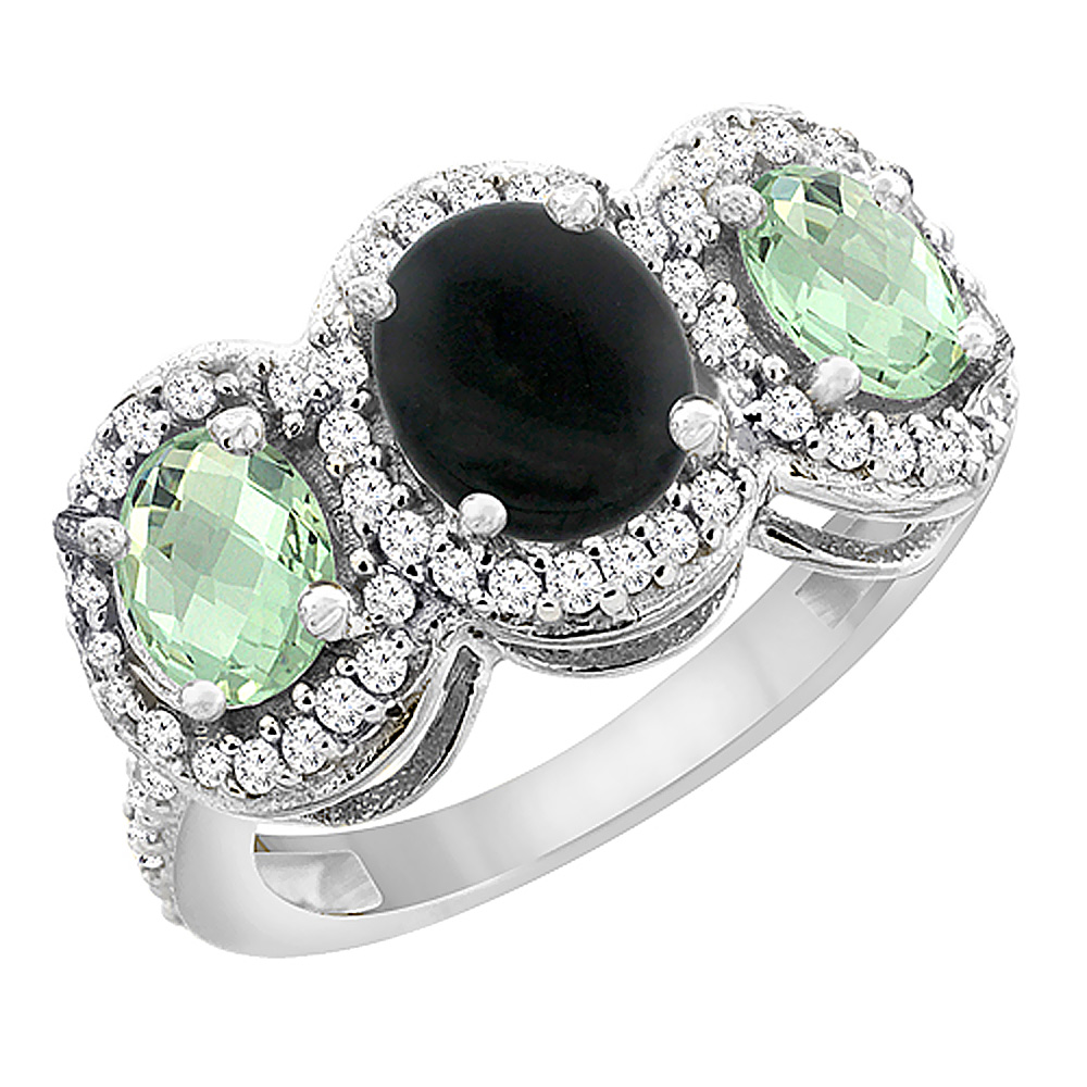 10K White Gold Natural Black Onyx & Green Amethyst 3-Stone Ring Oval Diamond Accent, sizes 5 - 10