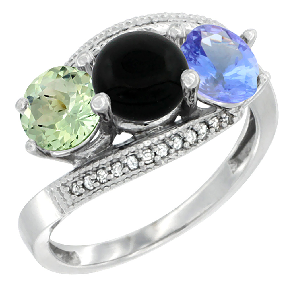 14K White Gold Natural Green Amethyst, Black Onyx & Tanzanite 3 stone Ring Round 6mm Diamond Accent, sizes 5 - 10