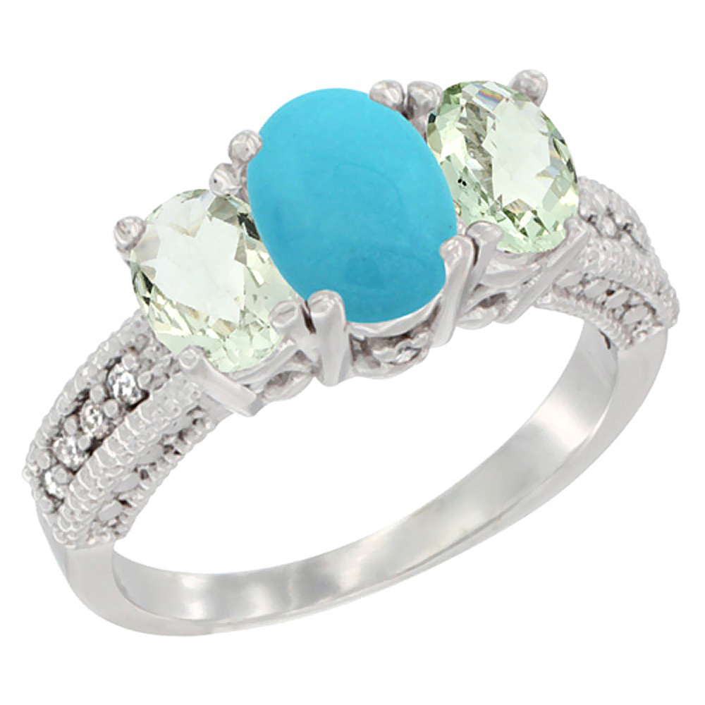 14K White Gold Diamond Natural Turquoise Ring Oval 3-stone with Green Amethyst, sizes 5 - 10