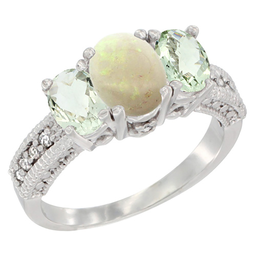 14K White Gold Diamond Natural Opal Ring Oval 3-stone with Green Amethyst, sizes 5 - 10