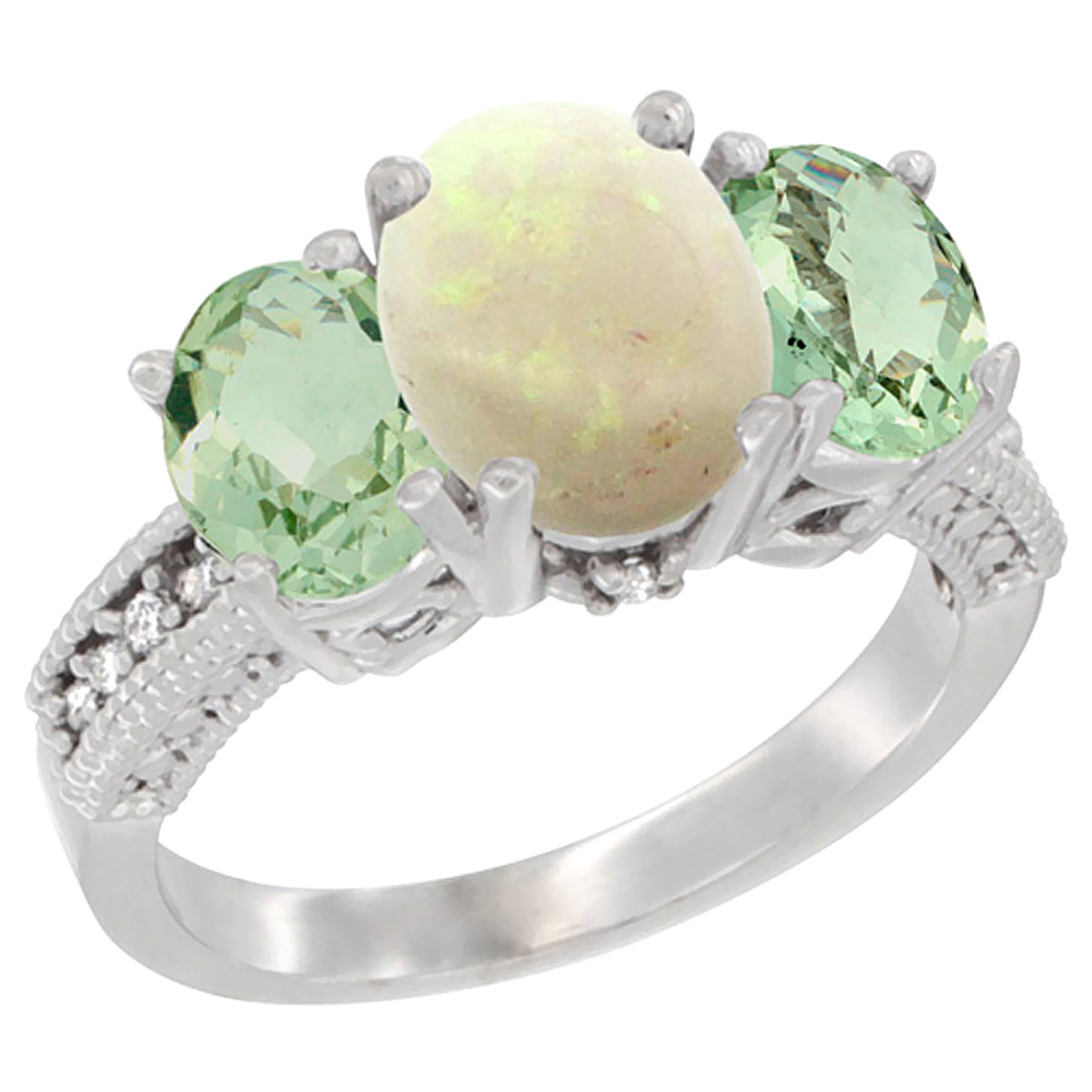 10K White Gold Natural Opal Ring Ladies 3-Stone Oval 8x6mm with Green Amethyst Sides Diamond Accent, sizes 5 - 10