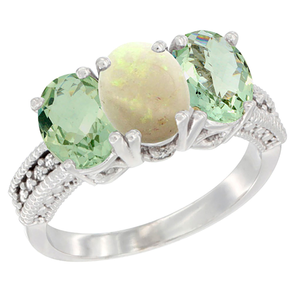 10K White Gold Natural Opal & Green Amethyst Sides Ring 3-Stone Oval 7x5 mm Diamond Accent, sizes 5 - 10