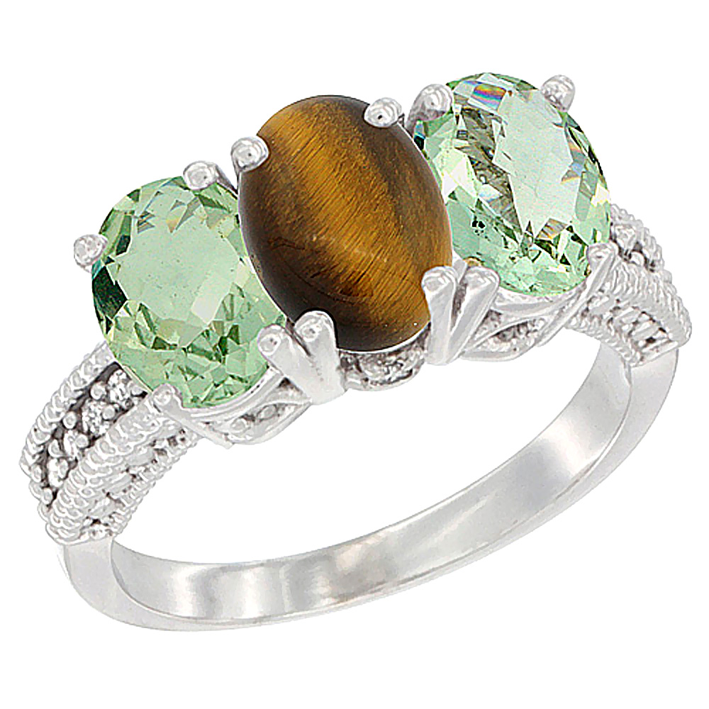 14K White Gold Natural Tiger Eye & Green Amethyst Sides Ring 3-Stone 7x5 mm Oval Diamond Accent, sizes 5 - 10