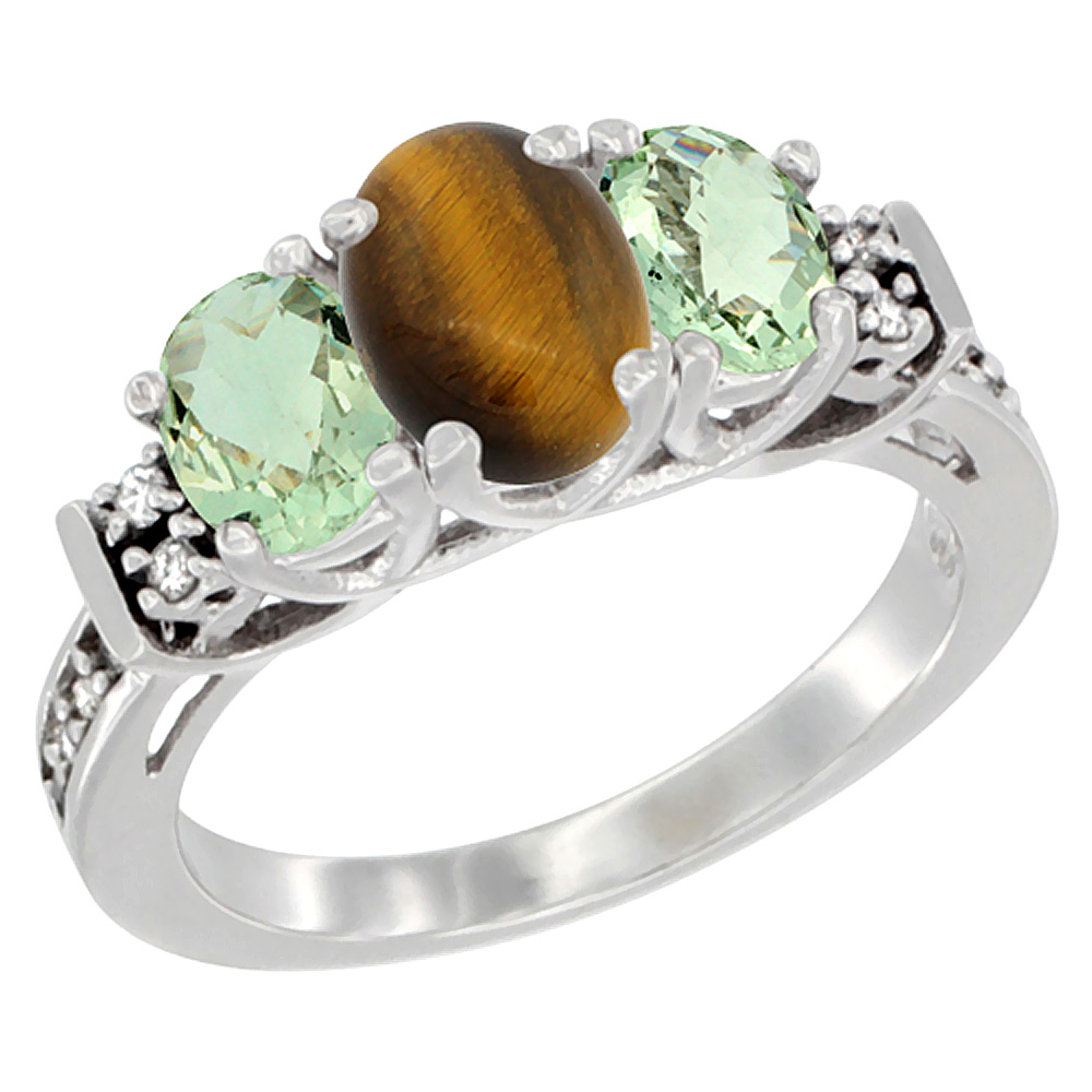 10K White Gold Natural Tiger Eye & Green Amethyst Ring 3-Stone Oval Diamond Accent, sizes 5-10