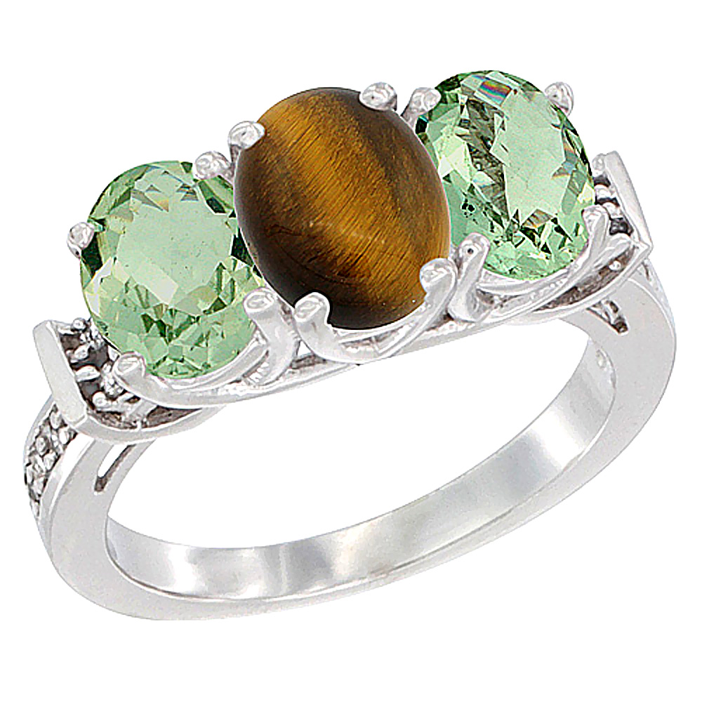 10K White Gold Natural Tiger Eye & Green Amethyst Sides Ring 3-Stone Oval Diamond Accent, sizes 5 - 10