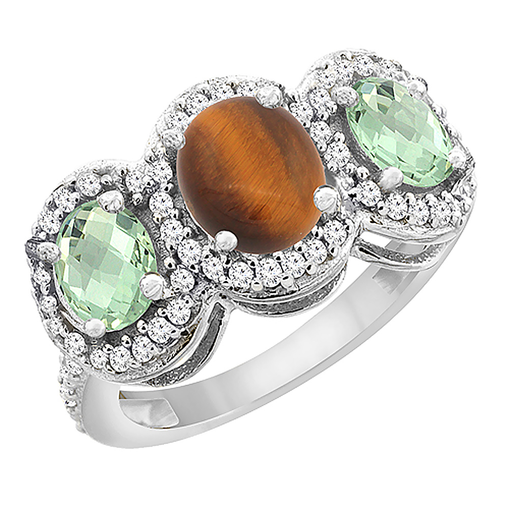 14K White Gold Natural Tiger Eye & Green Amethyst 3-Stone Ring Oval Diamond Accent, sizes 5 - 10