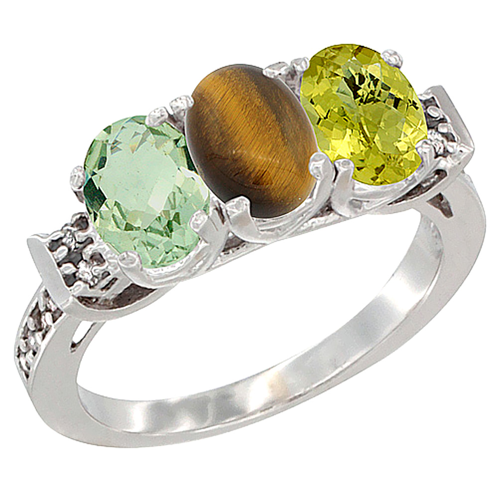 14K White Gold Natural Green Amethyst, Tiger Eye & Whisky Quartz Ring 3-Stone 7x5 mm Oval Diamond Accent, sizes 5 - 10