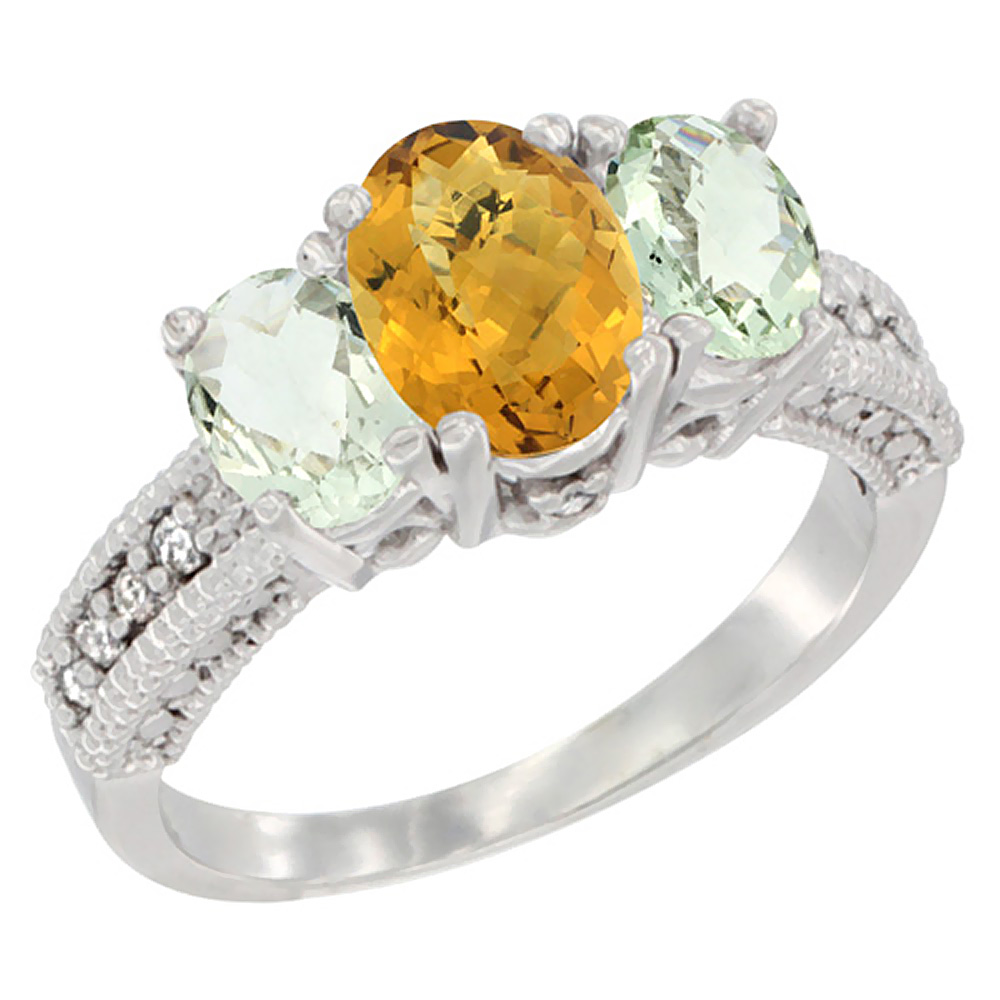 14K White Gold Diamond Natural Whisky Quartz Ring Oval 3-stone with Green Amethyst, sizes 5 - 10