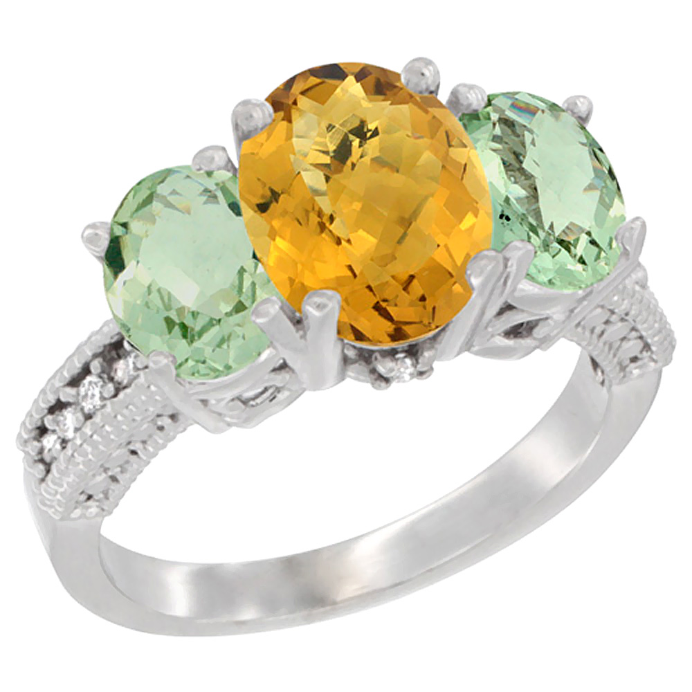 10K White Gold Natural Whisky Quartz Ring Ladies 3-Stone Oval 8x6mm with Green Amethyst Sides Diamond Accent, sizes 5 - 10