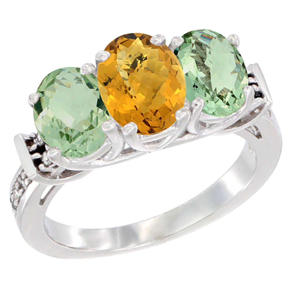 14K White Gold Natural Whisky Quartz & Green Amethyst Sides Ring 3-Stone Oval Diamond Accent, sizes 5 - 10