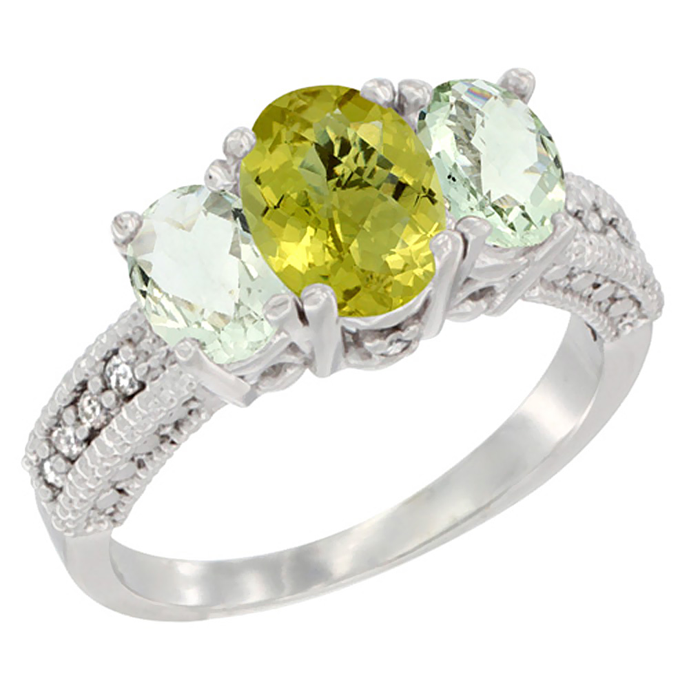10K White Gold Diamond Natural Lemon Quartz Ring Oval 3-stone with Green Amethyst, sizes 5 - 10