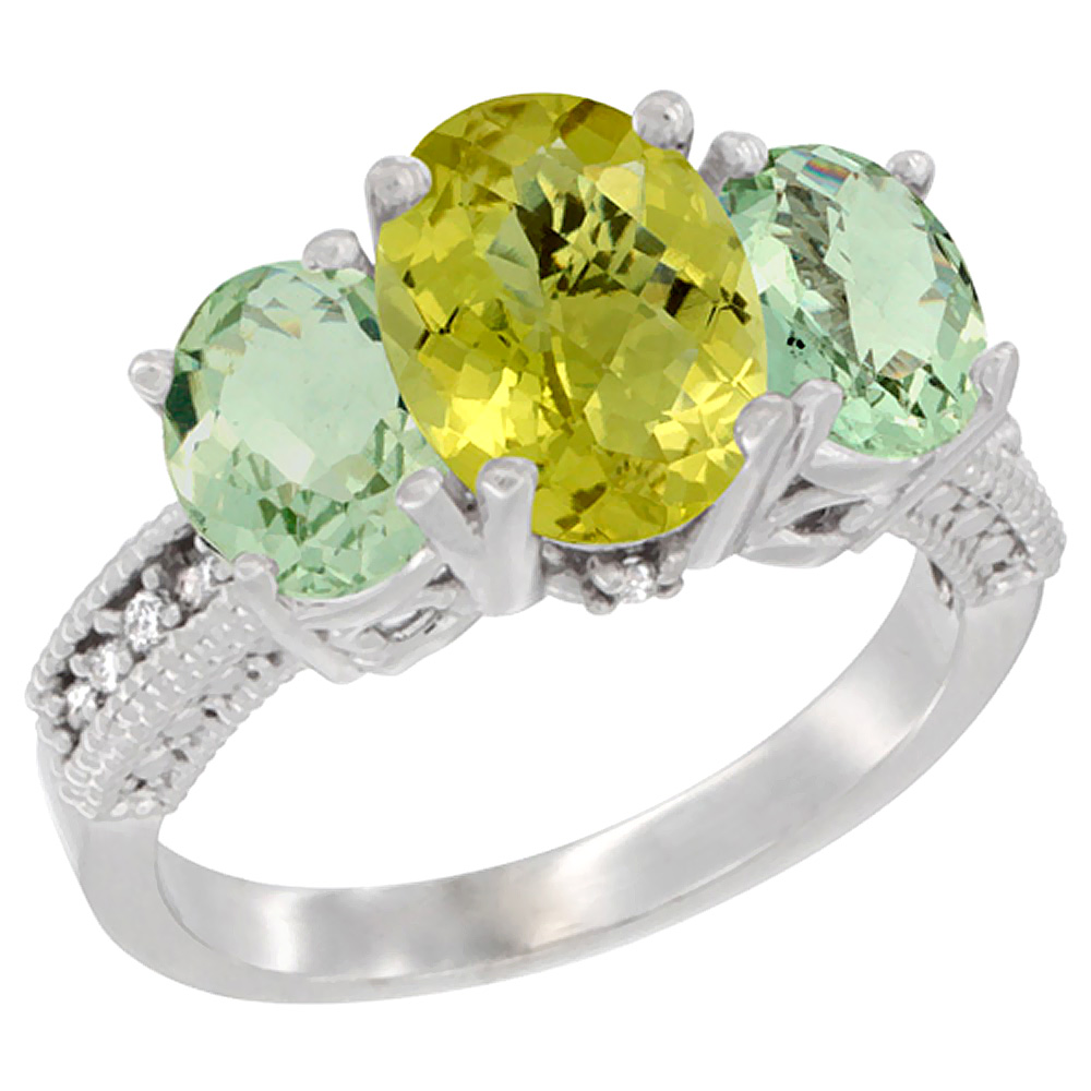 10K White Gold Natural Lemon Quartz Ring Ladies 3-Stone Oval 8x6mm with Green Amethyst Sides Diamond Accent, sizes 5 - 10