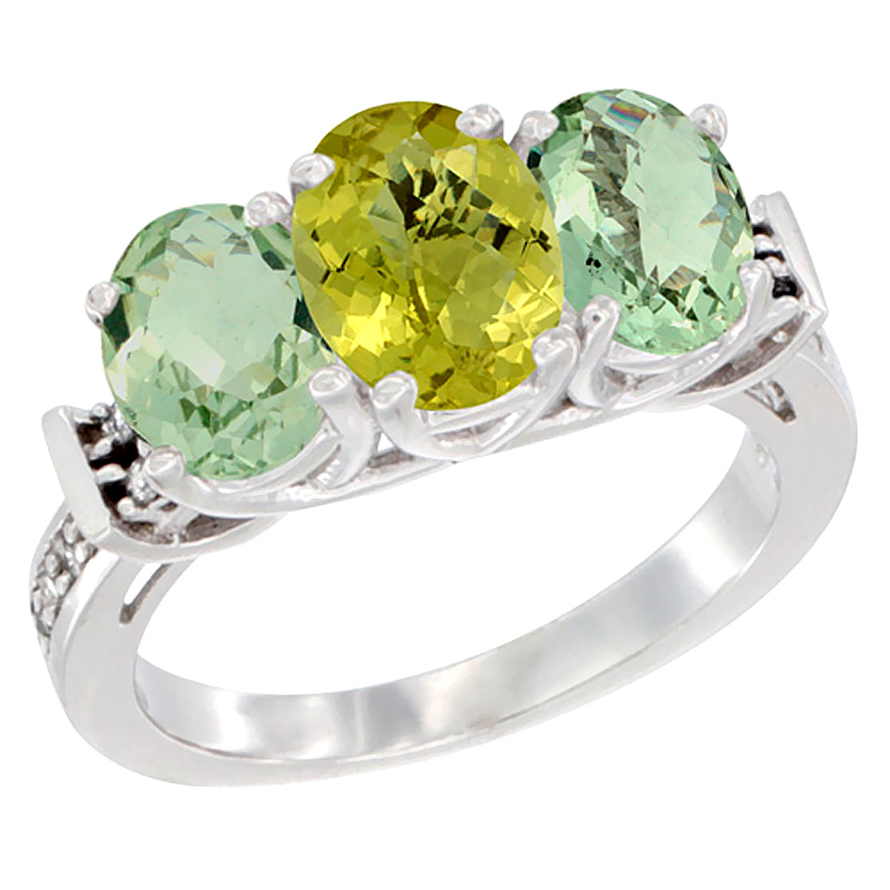 10K White Gold Natural Lemon Quartz & Green Amethyst Sides Ring 3-Stone Oval Diamond Accent, sizes 5 - 10