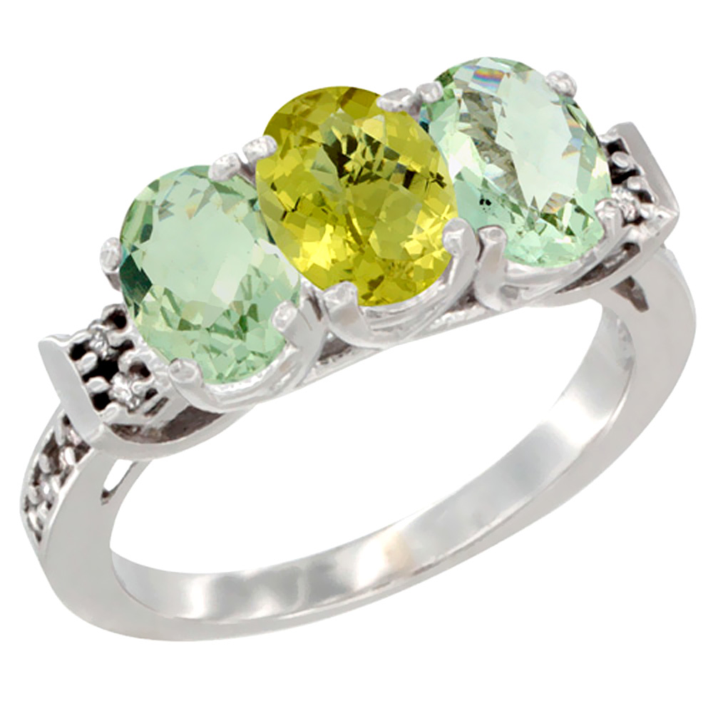 14K White Gold Natural Lemon Quartz & Green Amethyst Sides Ring 3-Stone 7x5 mm Oval Diamond Accent, sizes 5 - 10