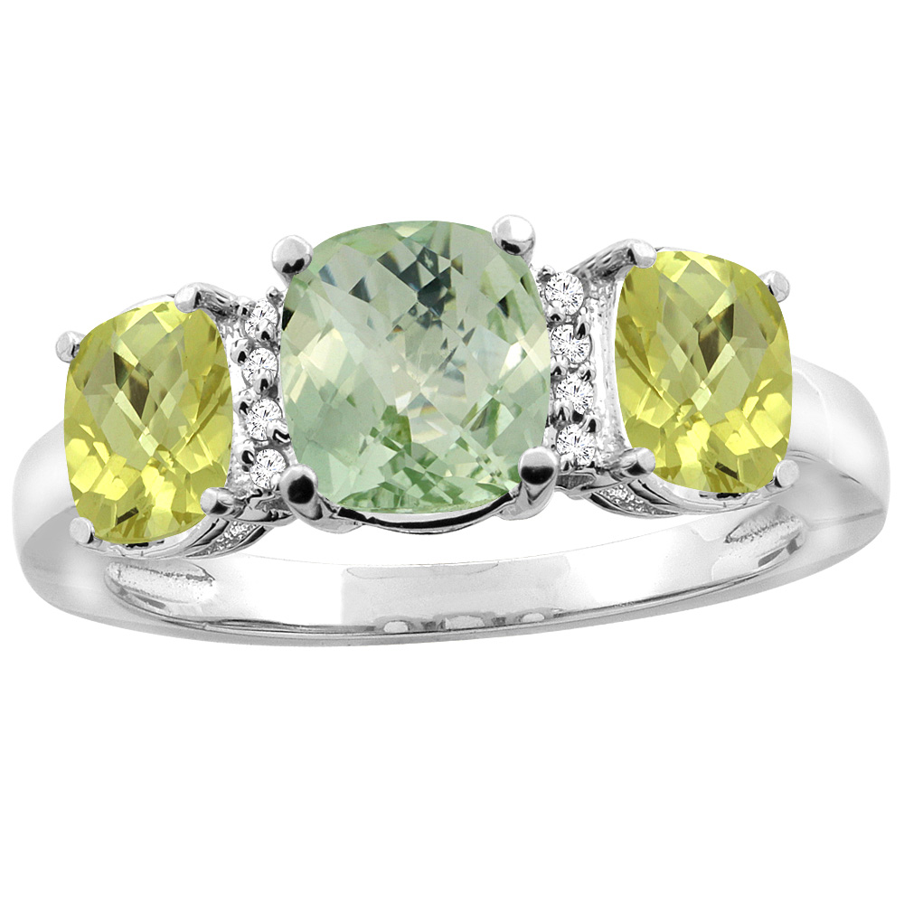 10K White Gold Natural Green Amethyst & Lemon Quartz 3-stone Ring Cushion 8x6mm Diamond Accent, sizes 5 - 10