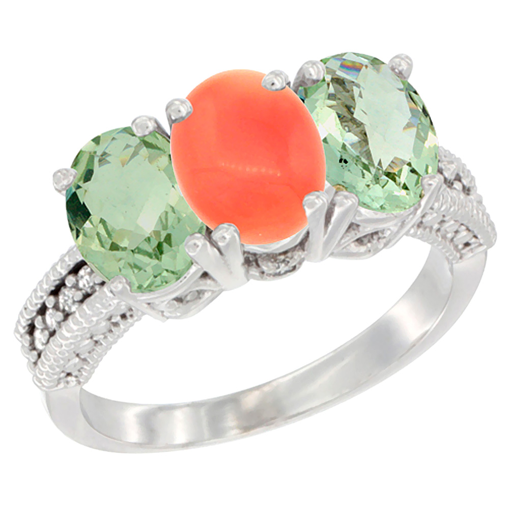 10K White Gold Natural Coral & Green Amethyst Sides Ring 3-Stone Oval 7x5 mm Diamond Accent, sizes 5 - 10