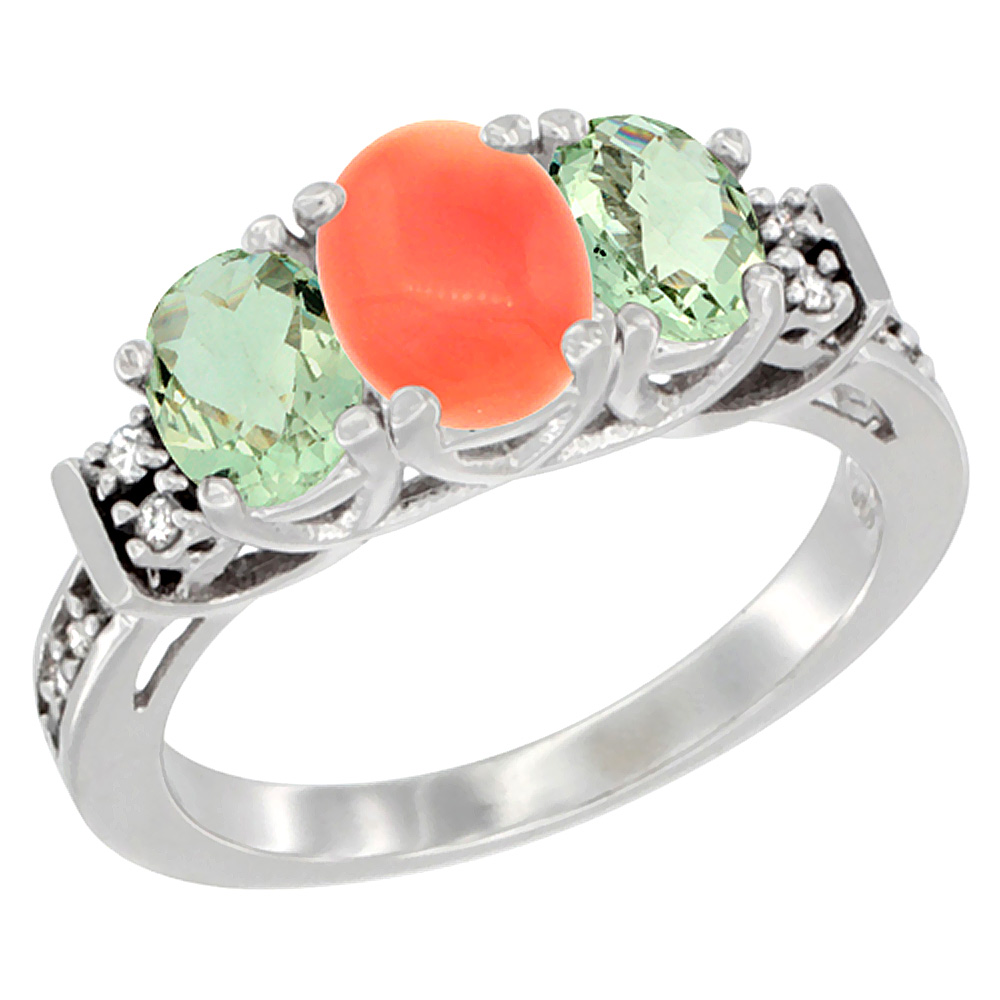 14K White Gold Natural Coral & Green Amethyst Ring 3-Stone Oval Diamond Accent, sizes 5-10