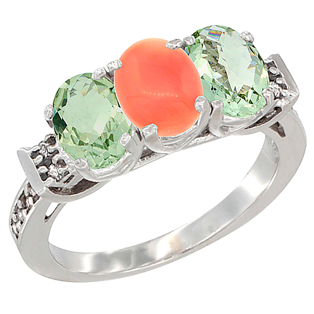 14K White Gold Natural Coral & Green Amethyst Sides Ring 3-Stone 7x5 mm Oval Diamond Accent, sizes 5 - 10