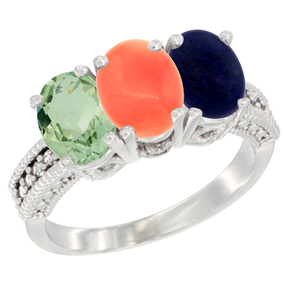 10K White Gold Natural Green Amethyst, Coral & Lapis Ring 3-Stone Oval 7x5 mm Diamond Accent, sizes 5 - 10