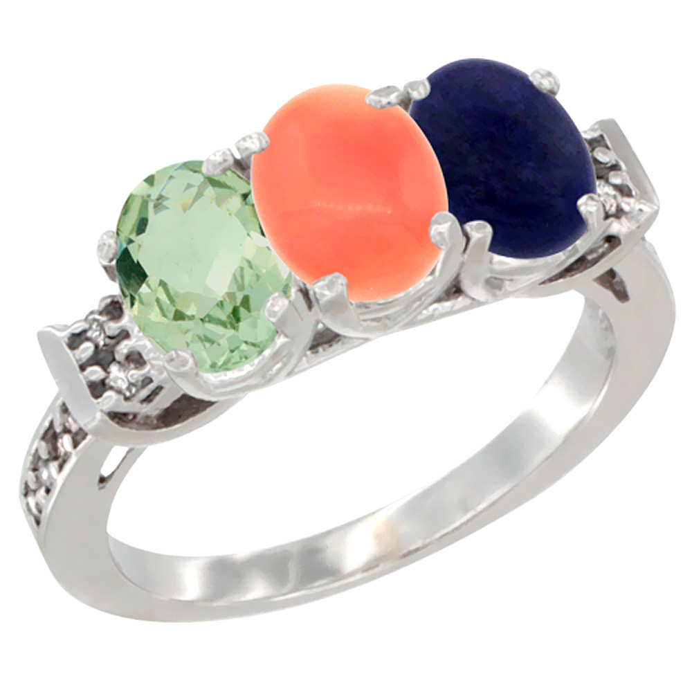 14K White Gold Natural Green Amethyst, Coral & Lapis Ring 3-Stone 7x5 mm Oval Diamond Accent, sizes 5 - 10