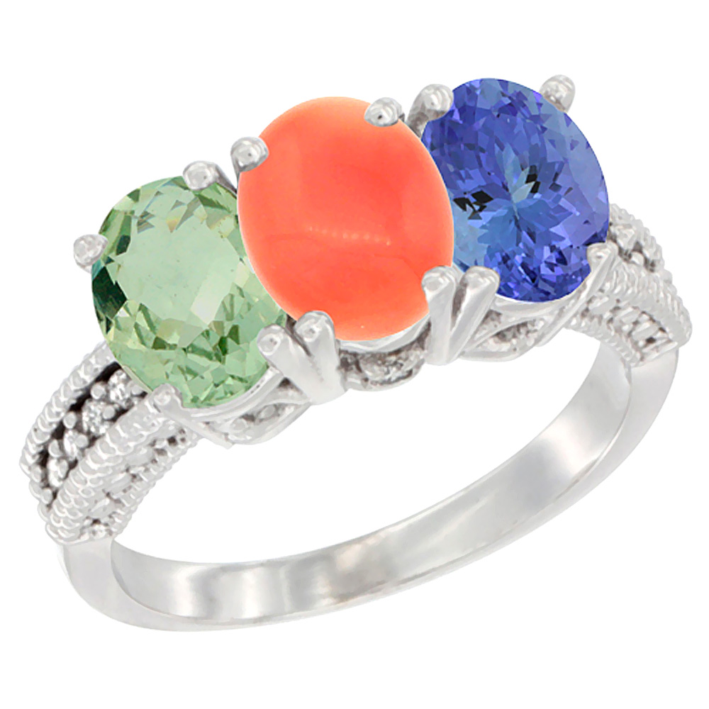 10K White Gold Natural Green Amethyst, Coral & Tanzanite Ring 3-Stone Oval 7x5 mm Diamond Accent, sizes 5 - 10
