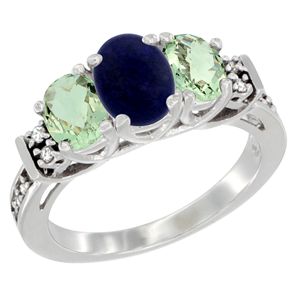 14K White Gold Natural Lapis & Green Amethyst Ring 3-Stone Oval Diamond Accent, sizes 5-10
