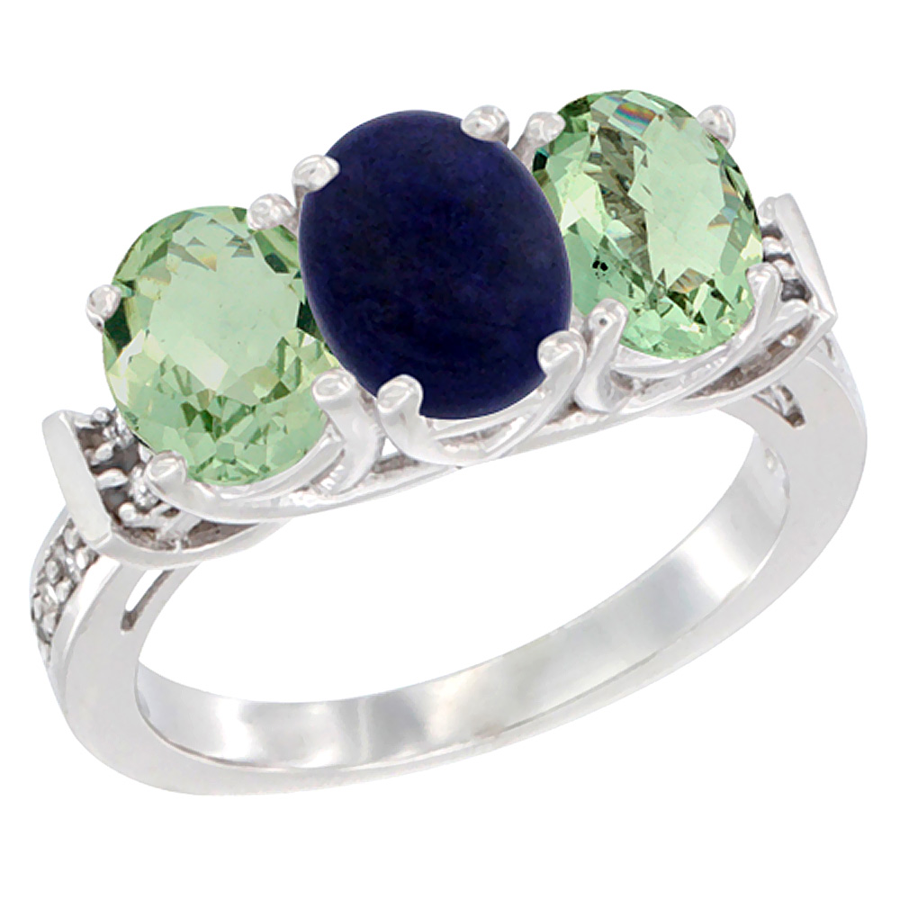 14K White Gold Natural Lapis & Green Amethyst Sides Ring 3-Stone Oval Diamond Accent, sizes 5 - 10