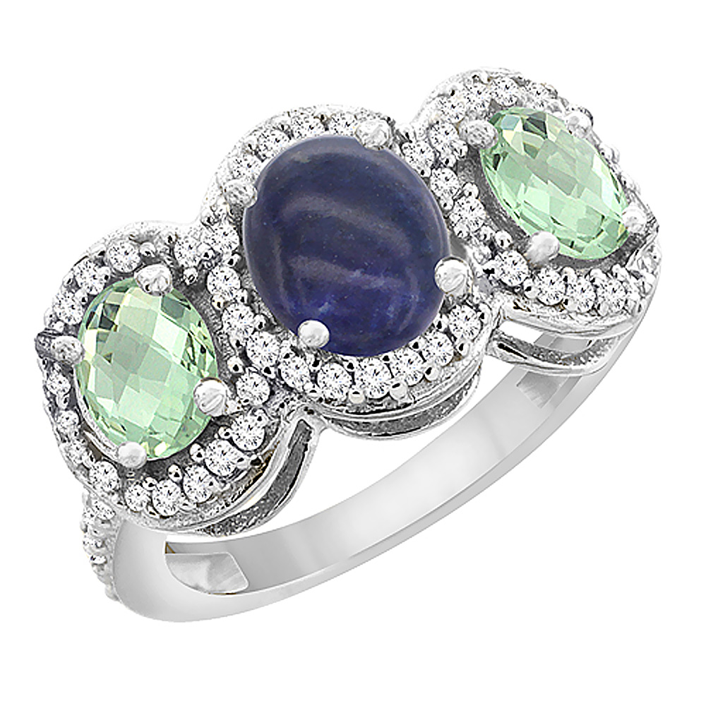 14K White Gold Natural Lapis & Green Amethyst 3-Stone Ring Oval Diamond Accent, sizes 5 - 10