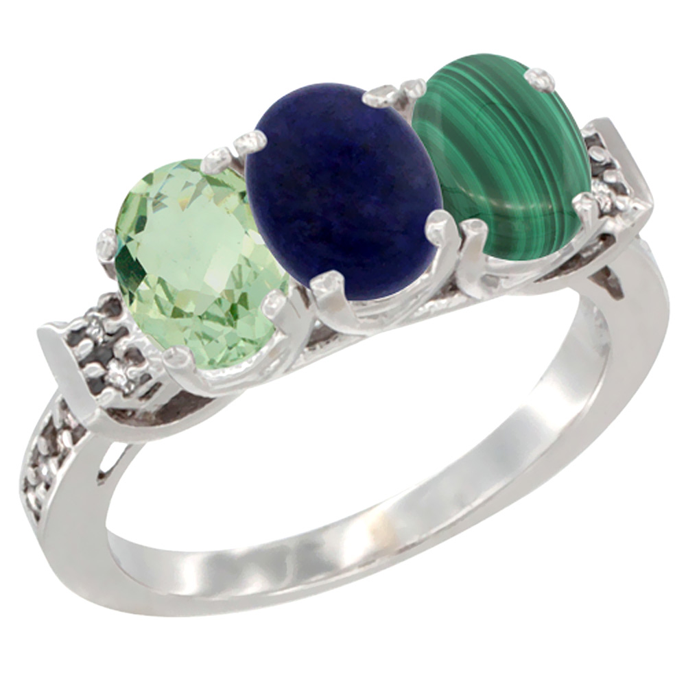 10K White Gold Natural Green Amethyst, Lapis & Malachite Ring 3-Stone Oval 7x5 mm Diamond Accent, sizes 5 - 10