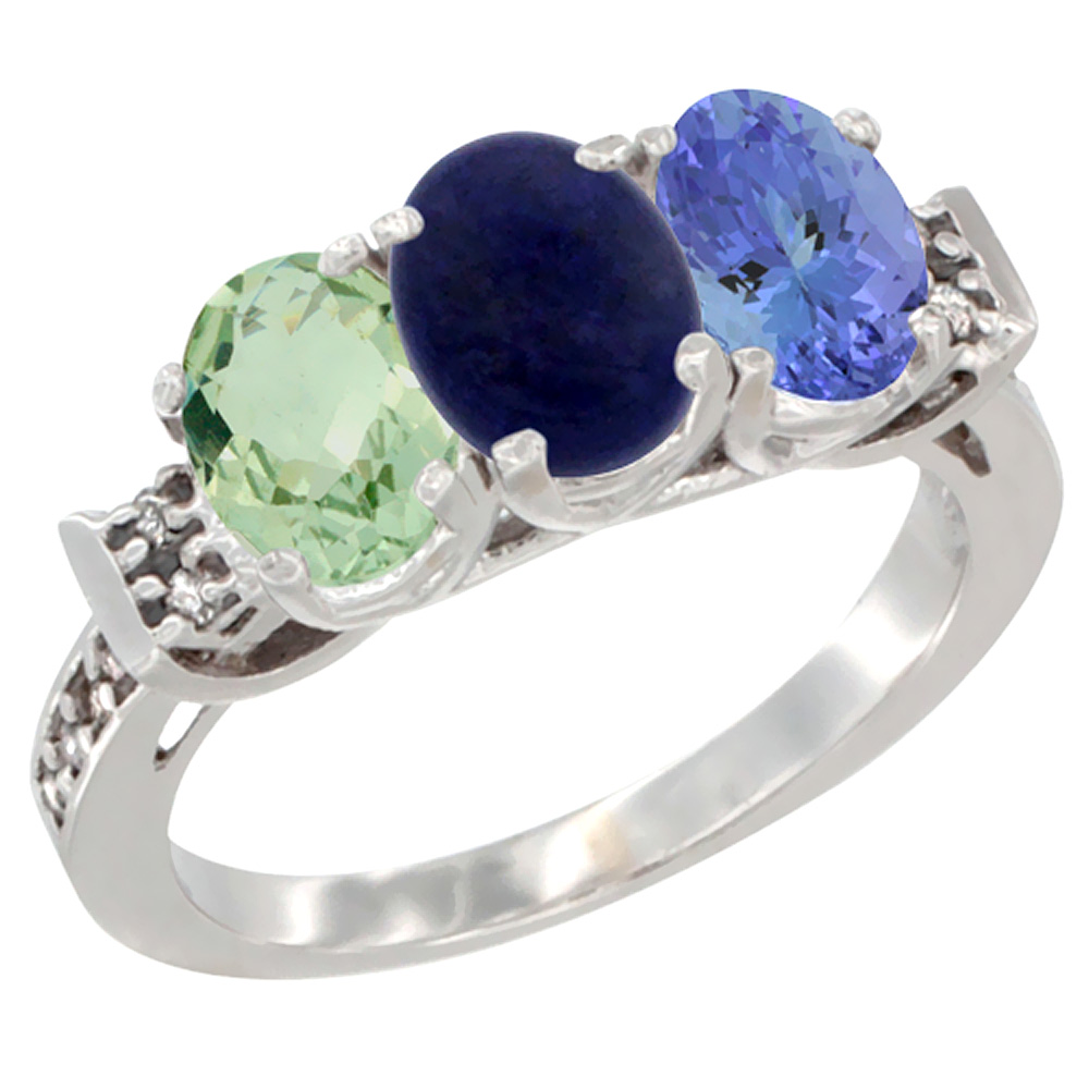 14K White Gold Natural Green Amethyst, Lapis & Tanzanite Ring 3-Stone 7x5 mm Oval Diamond Accent, sizes 5 - 10