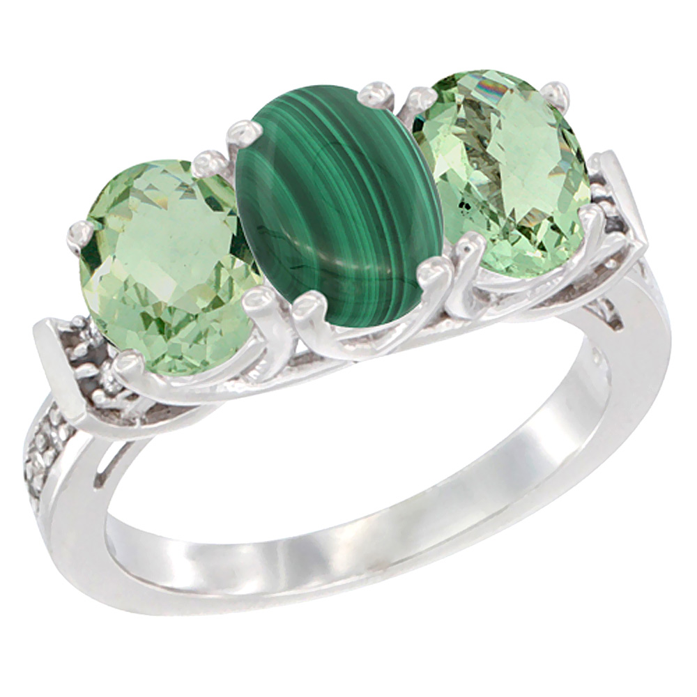 14K White Gold Natural Malachite & Green Amethyst Sides Ring 3-Stone Oval Diamond Accent, sizes 5 - 10