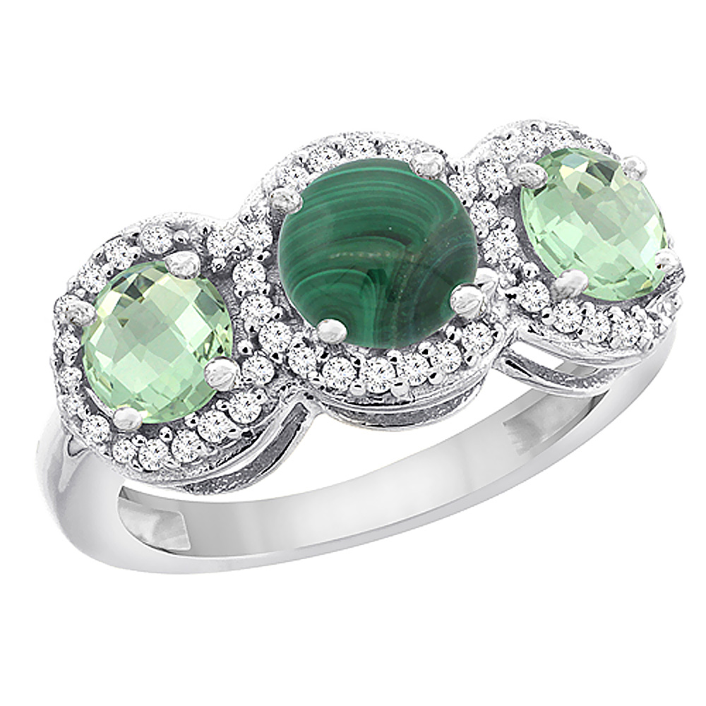 14K White Gold Natural Malachite & Green Amethyst Sides Round 3-stone Ring Diamond Accents, sizes 5 - 10