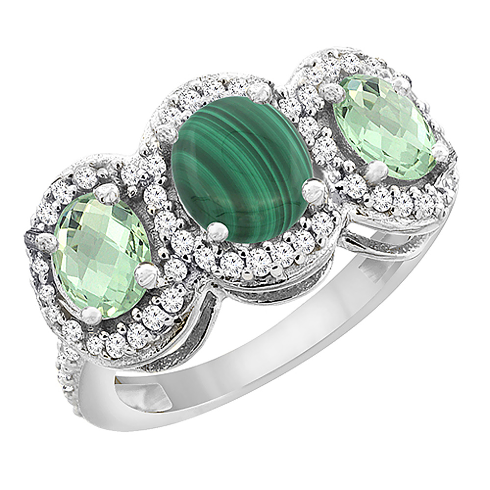 14K White Gold Natural Malachite & Green Amethyst 3-Stone Ring Oval Diamond Accent, sizes 5 - 10