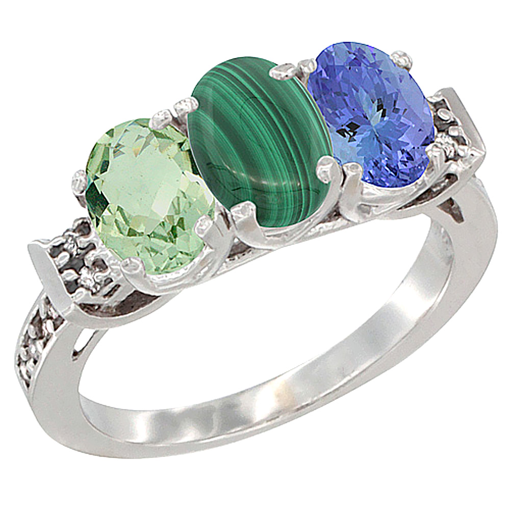 14K White Gold Natural Green Amethyst, Malachite & Tanzanite Ring 3-Stone 7x5 mm Oval Diamond Accent, sizes 5 - 10