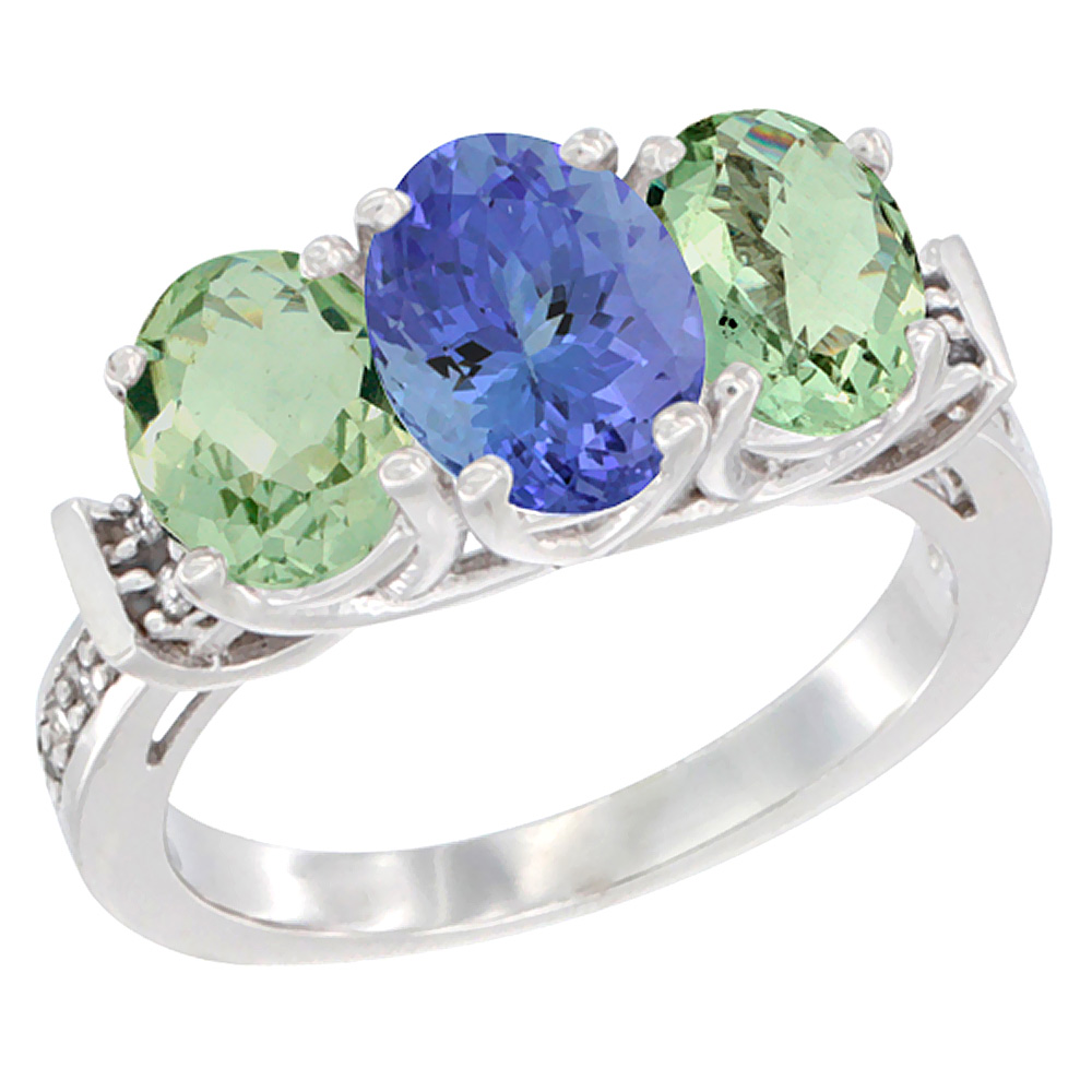 14K White Gold Natural Tanzanite & Green Amethyst Sides Ring 3-Stone Oval Diamond Accent, sizes 5 - 10