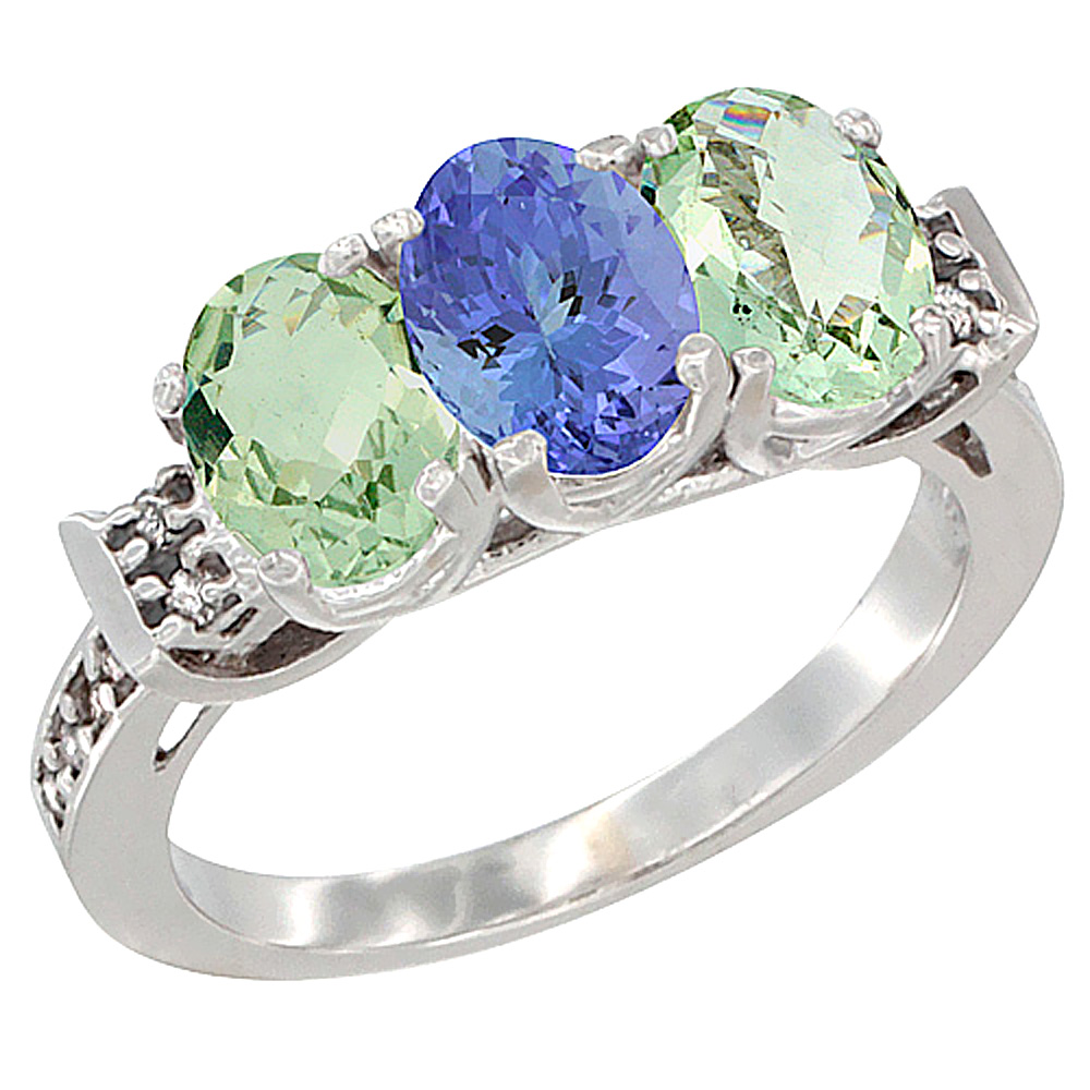 10K White Gold Natural Tanzanite & Green Amethyst Sides Ring 3-Stone Oval 7x5 mm Diamond Accent, sizes 5 - 10