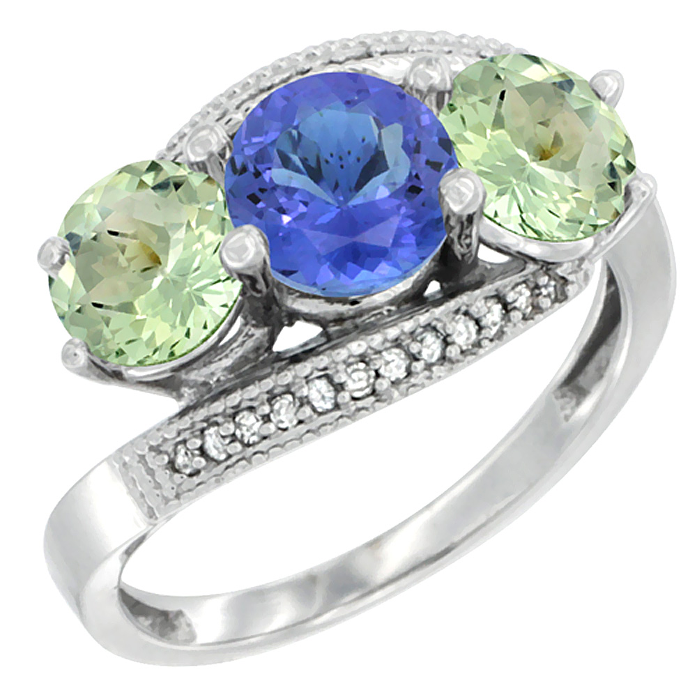 14K White Gold Natural Tanzanite & Green Amethyst Sides 3 stone Ring Round 6mm Diamond Accent, sizes 5 - 10