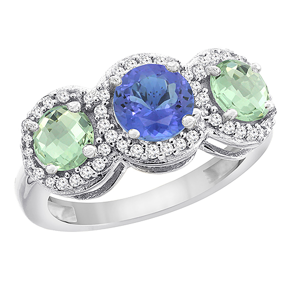 10K White Gold Natural Tanzanite & Green Amethyst Sides Round 3-stone Ring Diamond Accents, sizes 5 - 10