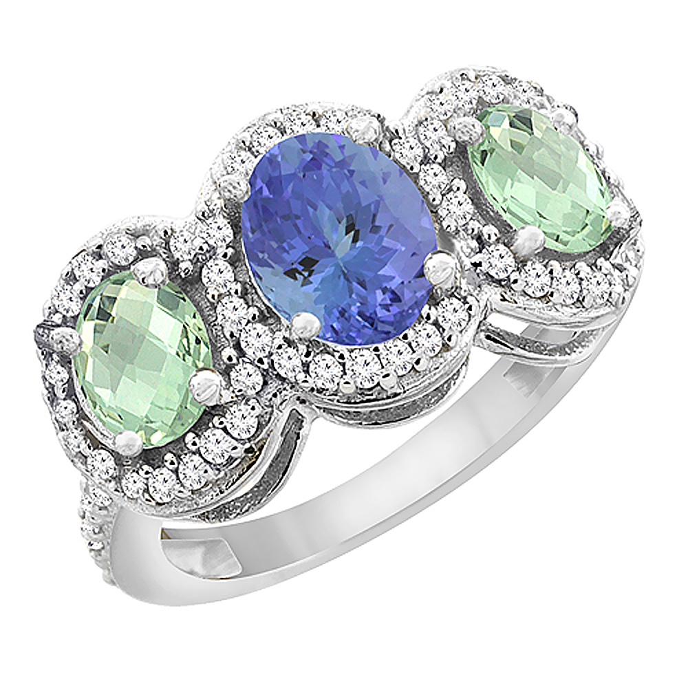 14K White Gold Natural Tanzanite & Green Amethyst 3-Stone Ring Oval Diamond Accent, sizes 5 - 10