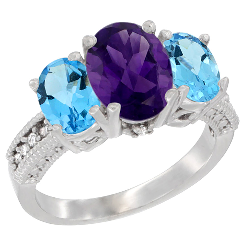 10K White Gold Natural Amethyst Ring Ladies 3-Stone Oval 8x6mm with Swiss Blue Topaz Sides Diamond Accent, sizes 5 - 10
