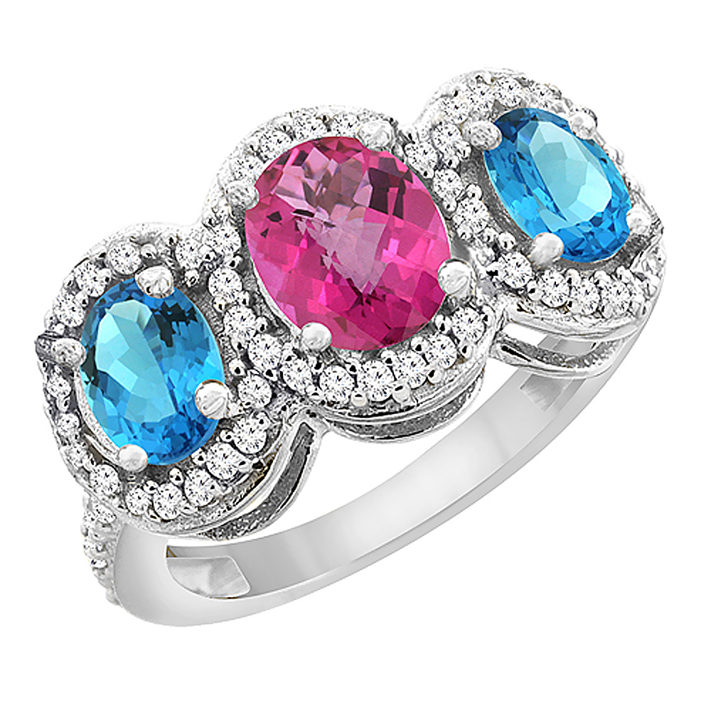 10K White Gold Natural Pink Sapphire & Swiss Blue Topaz 3-Stone Ring Oval Diamond Accent, sizes 5 - 10