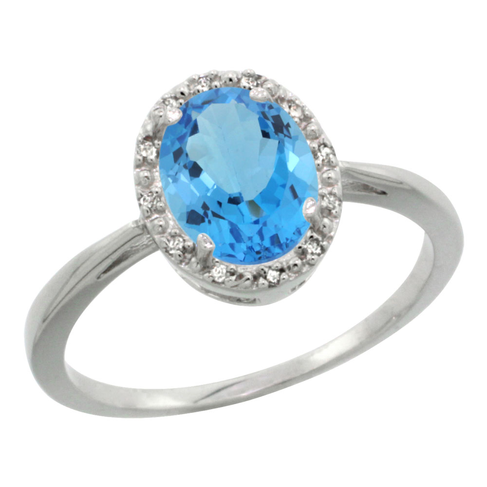 10K White Gold Natural Swiss Blue Topaz Diamond Halo Ring Oval 8X6mm, sizes 5-10