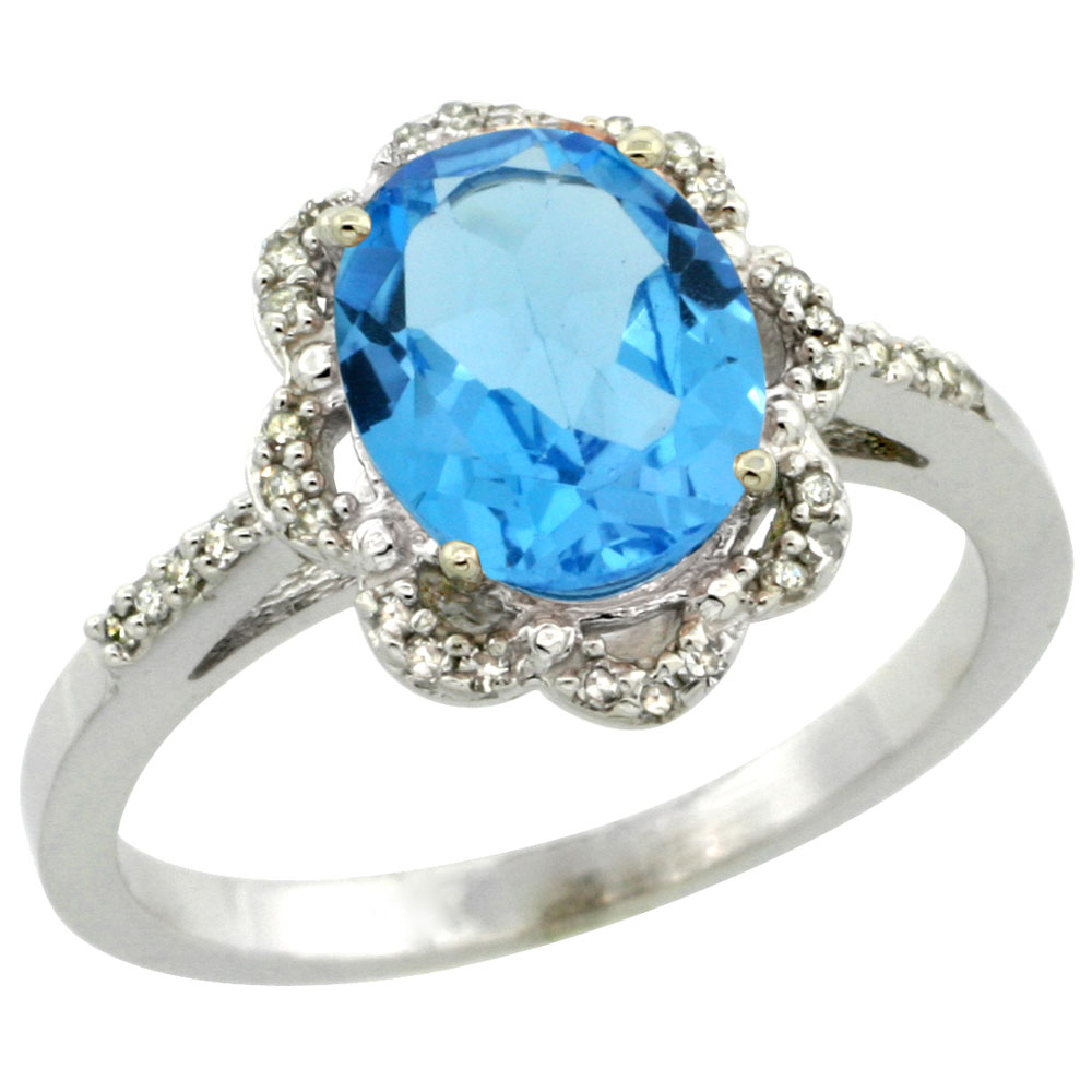 10K White Gold Diamond Halo Natural Swiss Blue Topaz Engagement Ring Oval 9x7mm, sizes 5-10