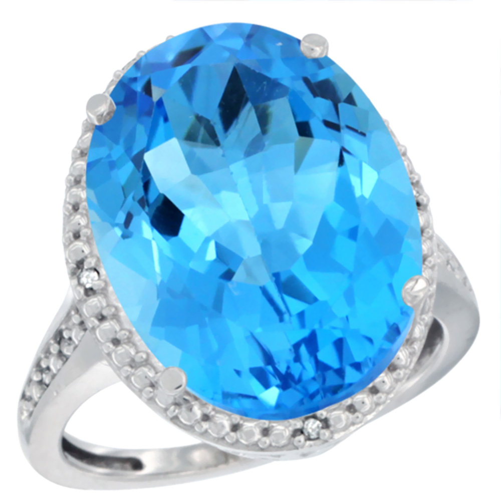 10K White Gold Diamond Natural Swiss Blue Topaz Ring Oval 18x13mm, sizes 5-10