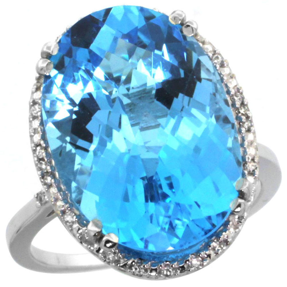 10k White Gold Natural Swiss Blue Topaz Ring Large Oval 18x13mm Diamond Halo, sizes 5-10