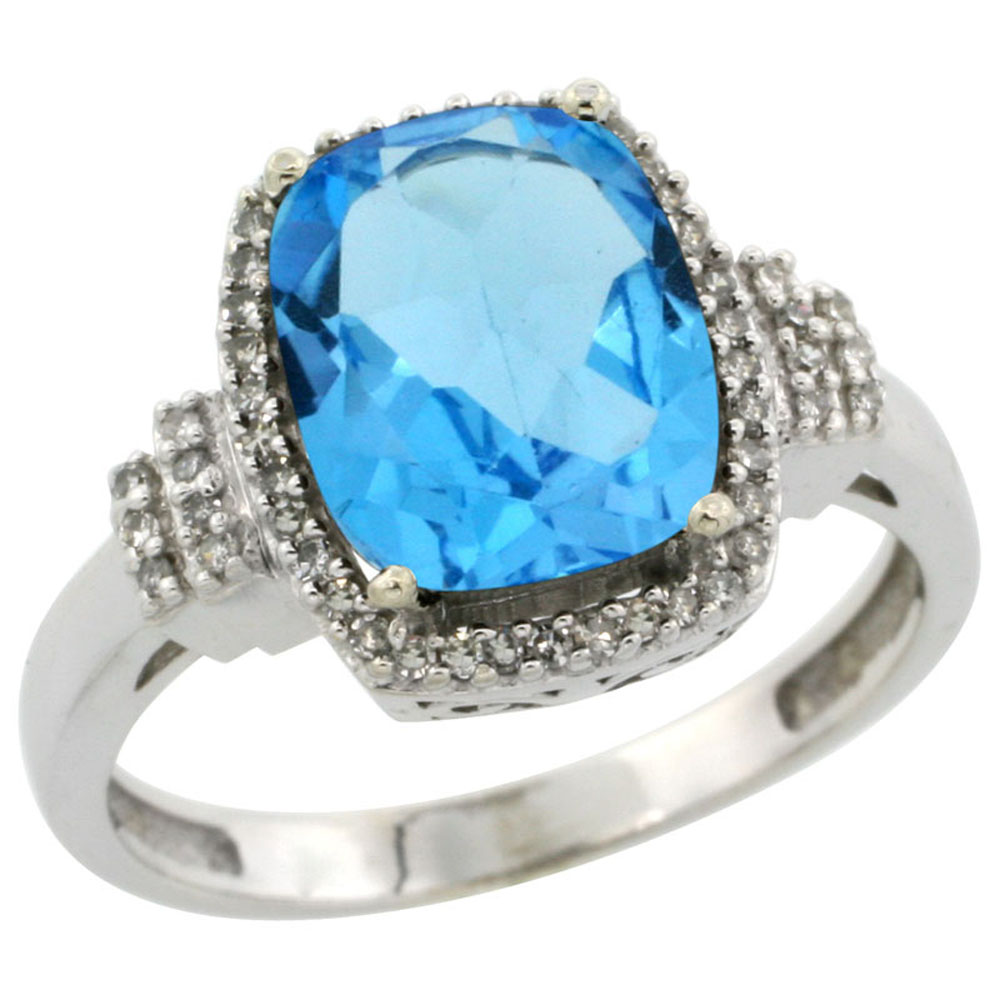 10k White Gold Natural Swiss Blue Topaz Ring Cushion-cut 9x7mm Diamond Halo, sizes 5-10